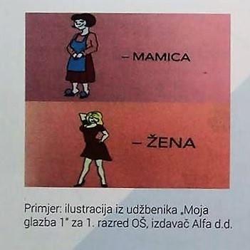 Primjer ilustracije iz udžbenika Moja glazba 1 za 1. razred OŠ, izdavač Alfa - crtež 'mamica' i 'žena'