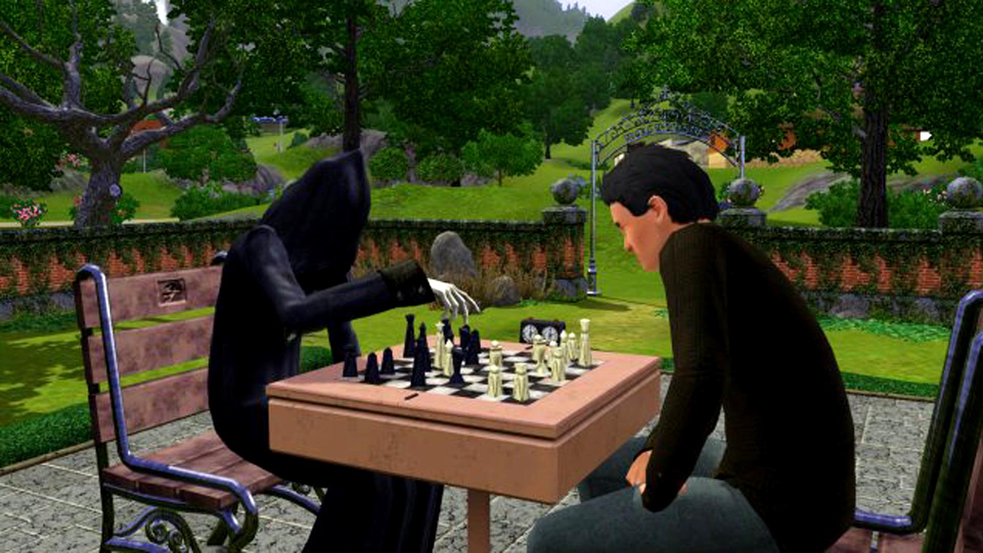 Isječak iz igre The Sims 3 kako Smrt u parku igra šah s jednim Sim-om